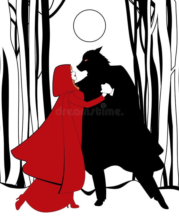 Caperucita Rojo y el baile del lobo en el bosque teniendo en cuenta la Luna Llena libre illustration