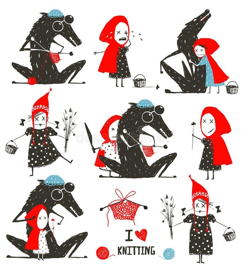 Caperucita Rojo y Wolf Fairytale Collection ilustración del vector