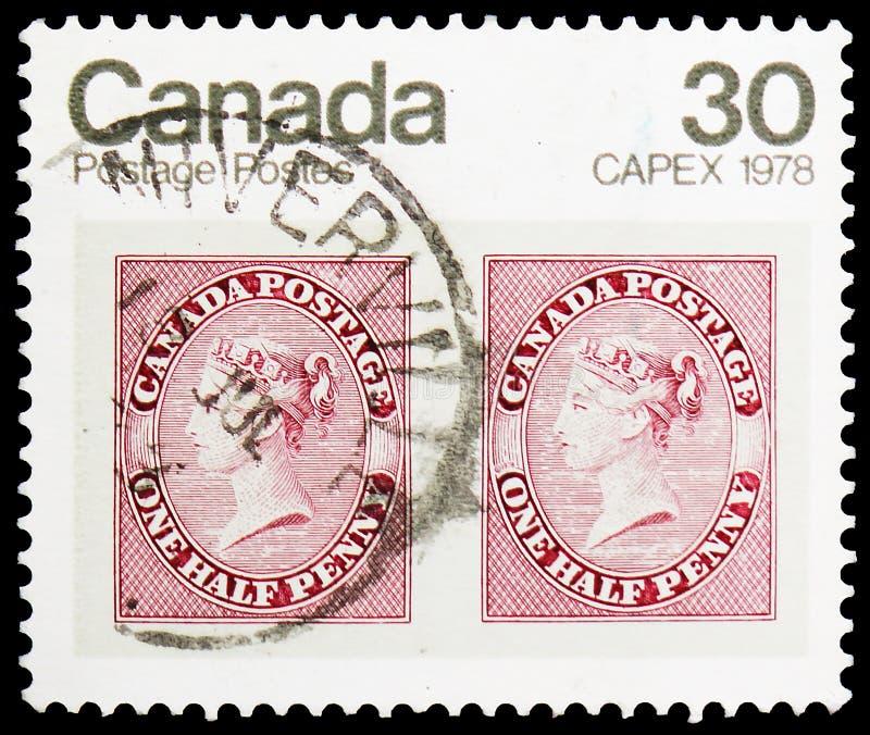 CAPEX 1978 - ζευγάρι 1857 1/2d γραμματόσημα βασίλισσας Victoria, διεθνής έκθεση γραμματοσήμων (2$α σειρά) serie, circa 1978 στοκ εικόνα