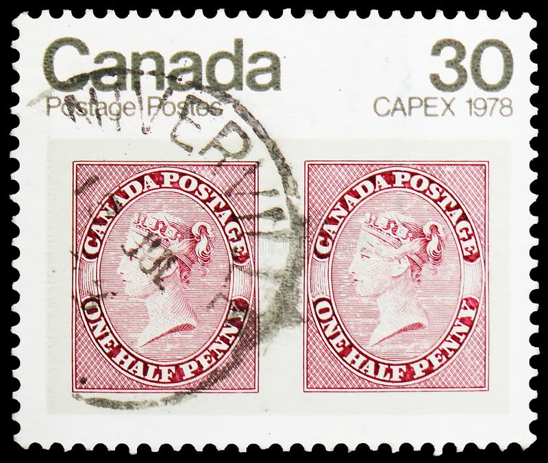 CAPEX 1978 - Pair of 1857 1/2d Queen Victoria stamps, International Stamp Exhibition (2nd series) serie, circa 1978. MOSCOW, RUSSIA - MAY 25, 2019: Postage stamp stock image