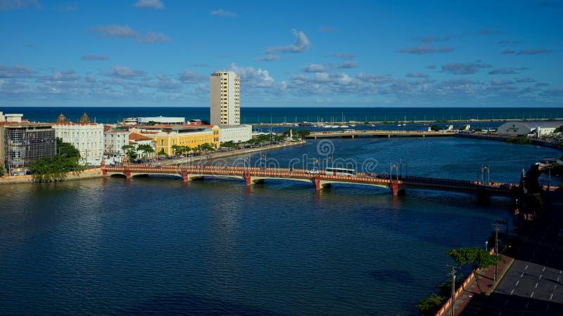 Capibaribe累西腓河和桥梁, Pernambuco,巴西 库存照片