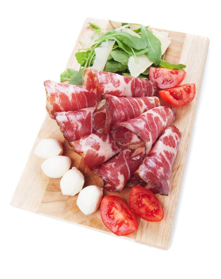 Capicola italiano, carne suina curata immagine stock