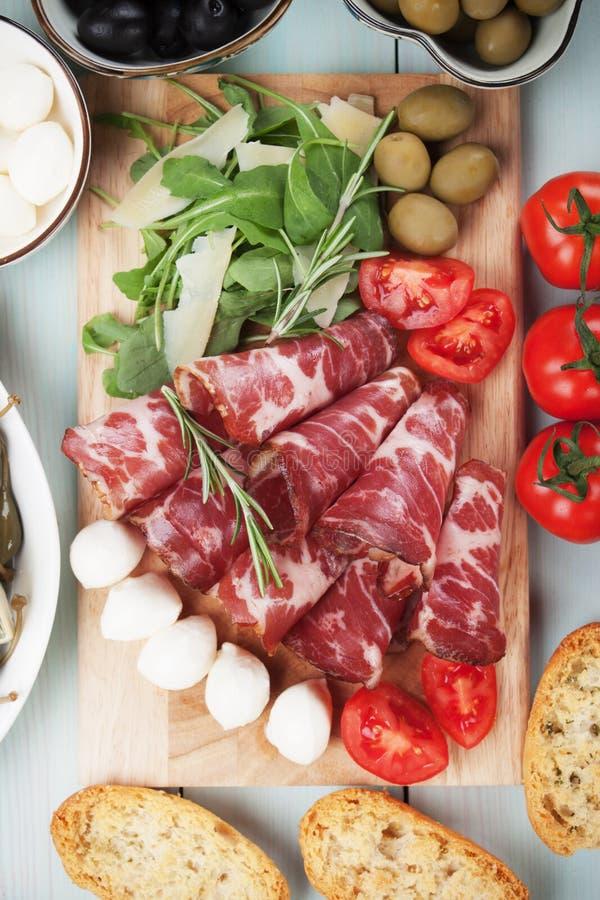 Capicola italiano, carne suina curata fotografia stock libera da diritti