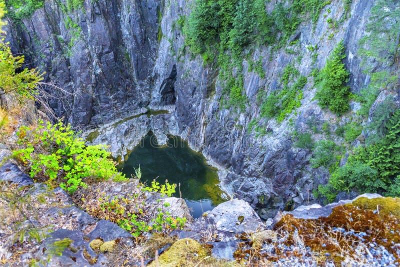 Capilano-Fluss-Abgrund-Klippen-Vancouver-Britisch-Columbia Kanada lizenzfreies stockfoto