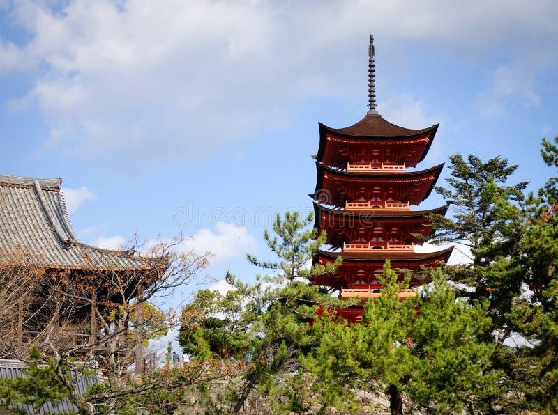 Capilla de Itsukushima en Hiroshima, Japón fotografía de archivo libre de regalías