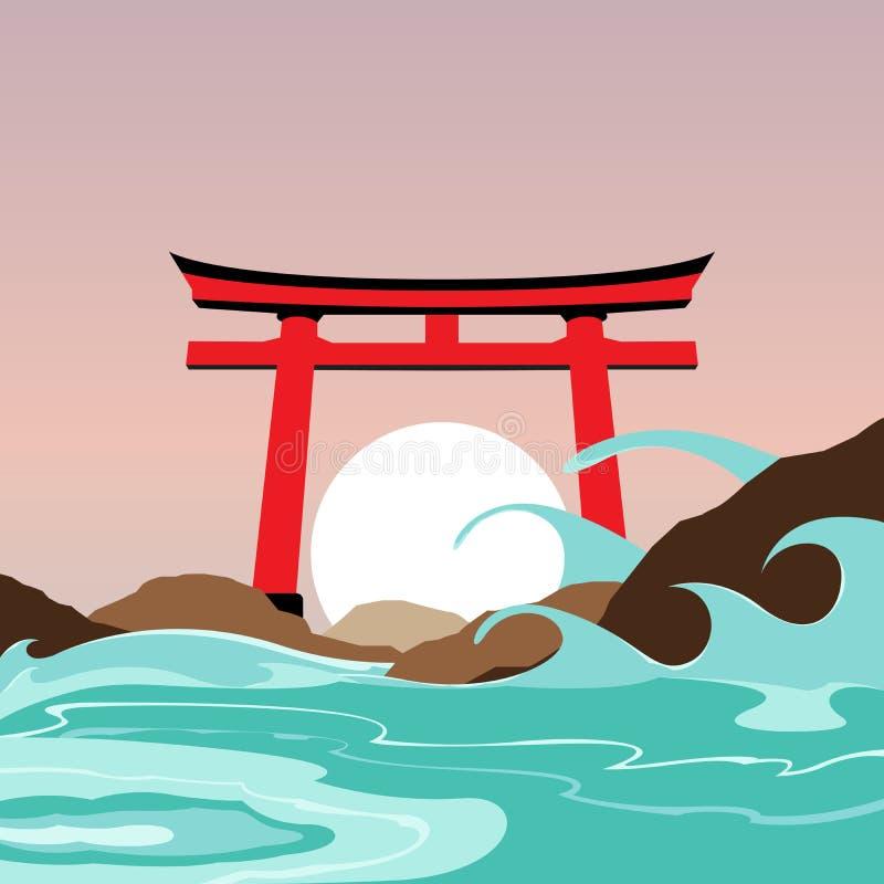Capilla de Japón y señal de la puerta por completo ilustración del vector