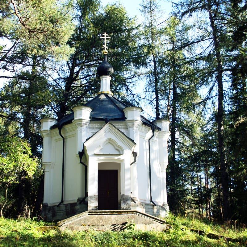 Capilla de la cruz del sufrimiento Isla de Valaam fotos de archivo