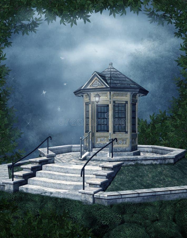 Capilla de la fantasía en la noche stock de ilustración