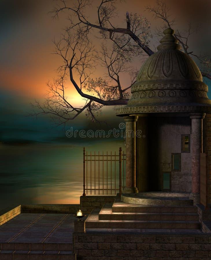 Capilla de la fantasía por el lago ilustración del vector