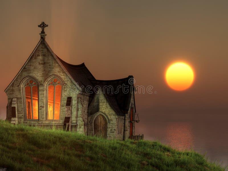Capilla de la puesta del sol por el mar libre illustration