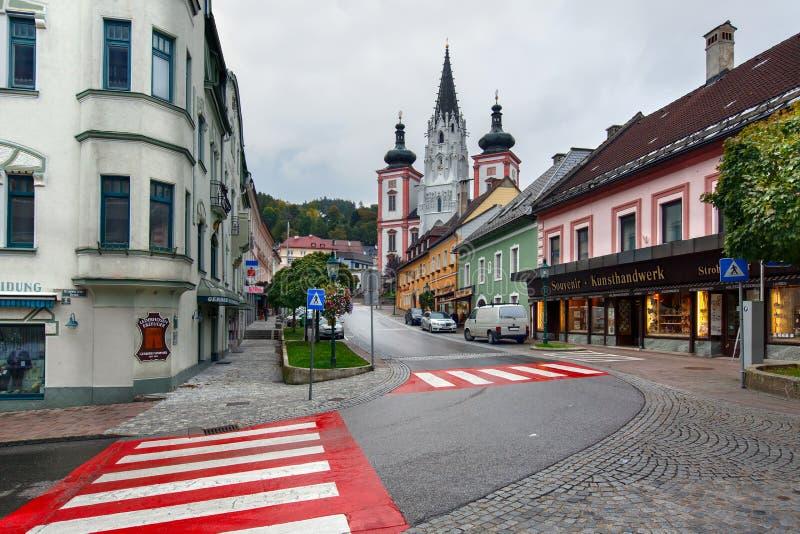 Capilla de nuestra señora en la ciudad Mariazell, sitio del peregrinaje para los católicos austria foto de archivo libre de regalías