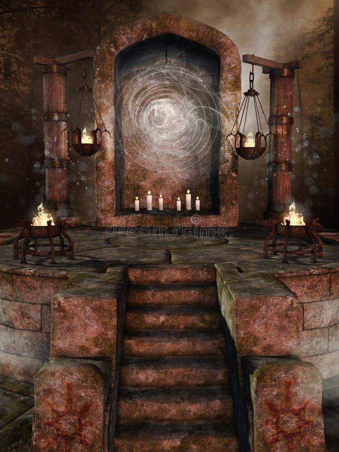 Capilla de piedra con las hornillas stock de ilustración