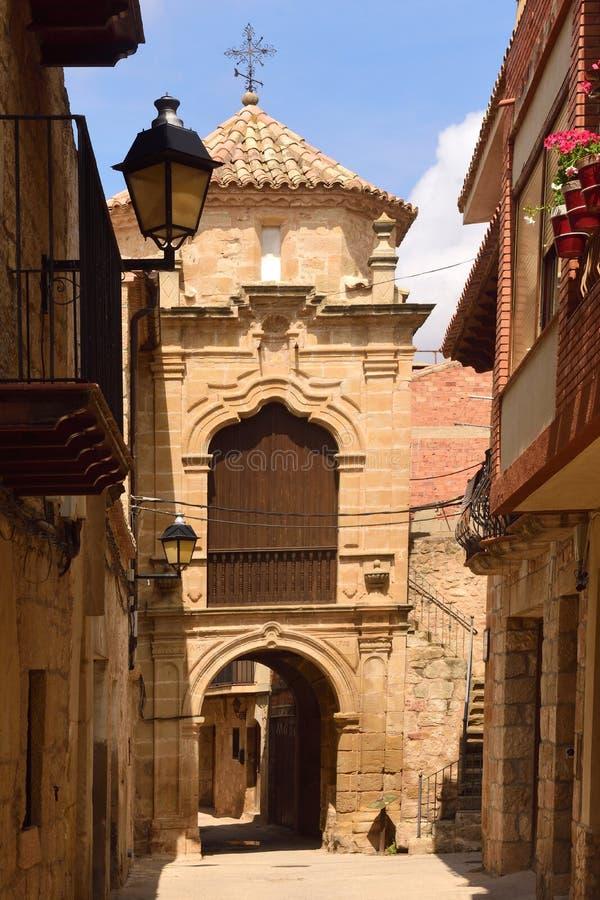 Capilla de Sant Antonio en el pueblo provincia de Cretas, Teruel imagen de archivo libre de regalías