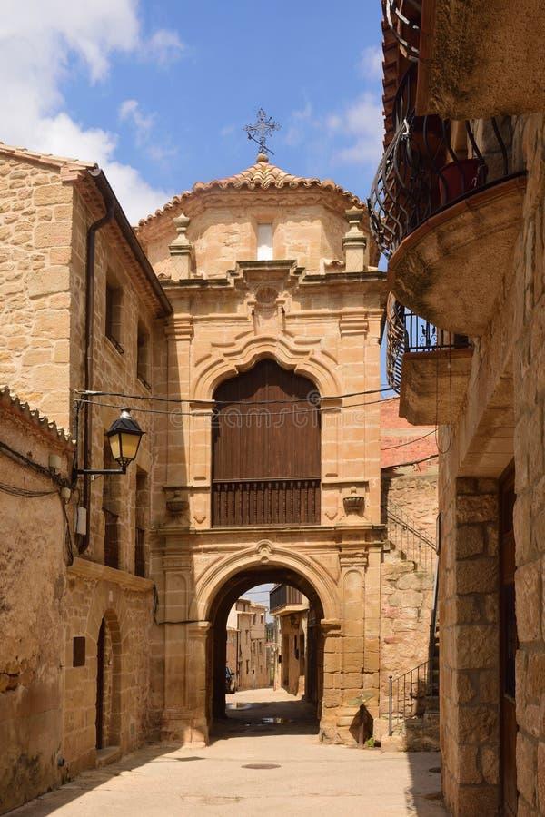 Capilla de Sant Antonio en el pueblo provincia de Cretas, Teruel imagen de archivo