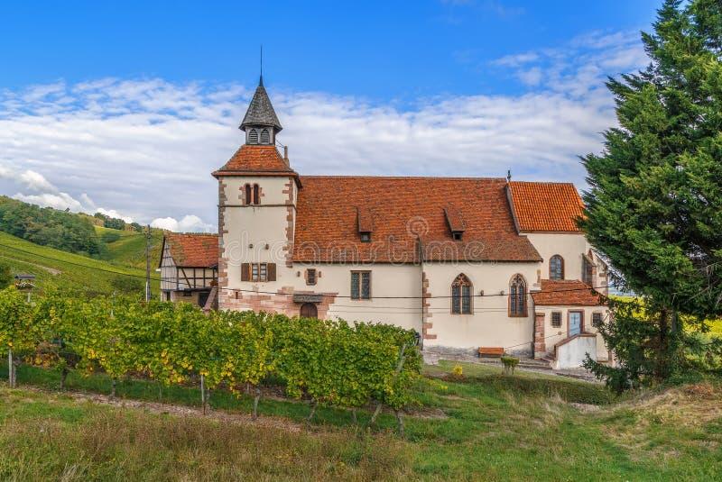 Capilla de Sebastien del santo, Dambach-la-Ville, Alsacia fotografía de archivo
