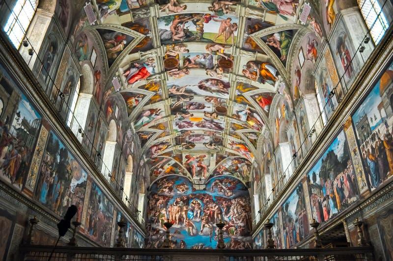 Capilla de Sistine del museo del Vaticano imagen de archivo
