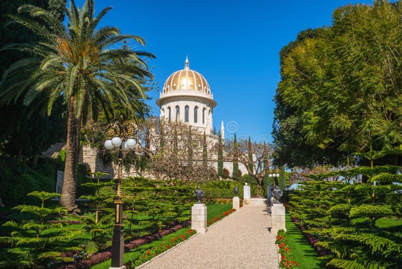 Capilla del Bab en el jardín de ejecución, Haifa, Israel foto de archivo
