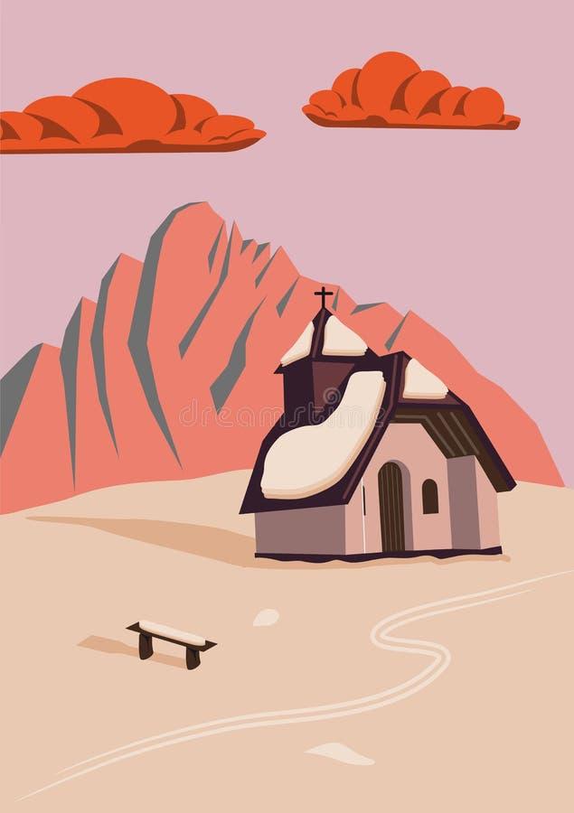 Capilla en la montaña en la puesta del sol stock de ilustración