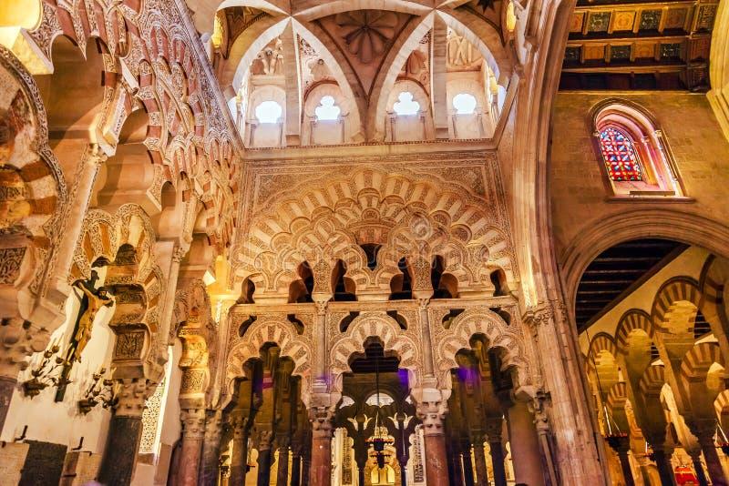 Capilla första Christian Chapel Arches Mezquita Cordoba Spanien arkivbild