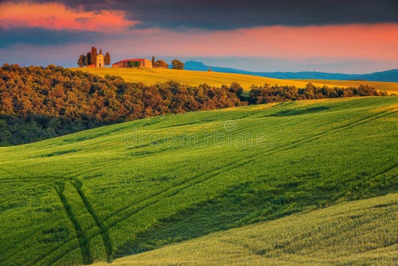 Capilla famosa de Vitaleta cerca de Pienza, Toscana, Italia, Europa imagen de archivo