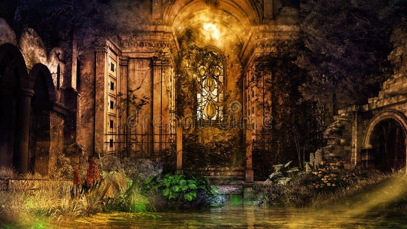 Capilla gótica arruinada stock de ilustración