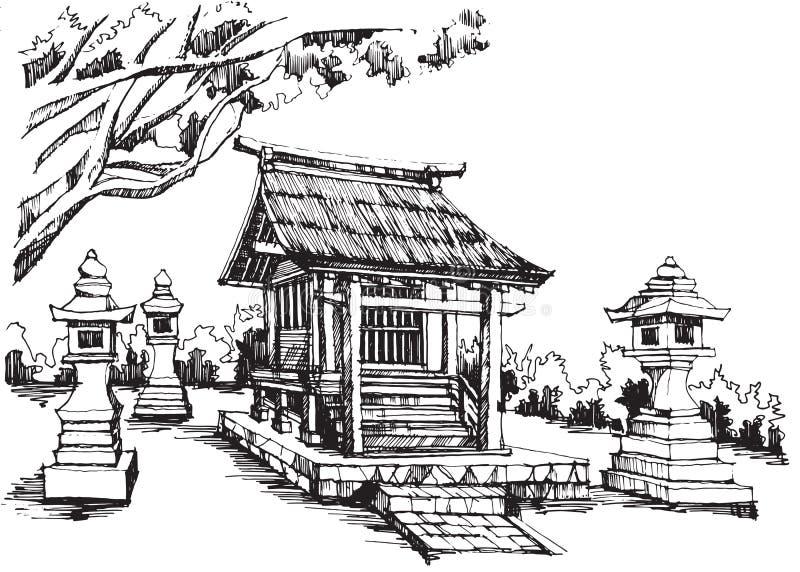 Capilla japonesa stock de ilustración