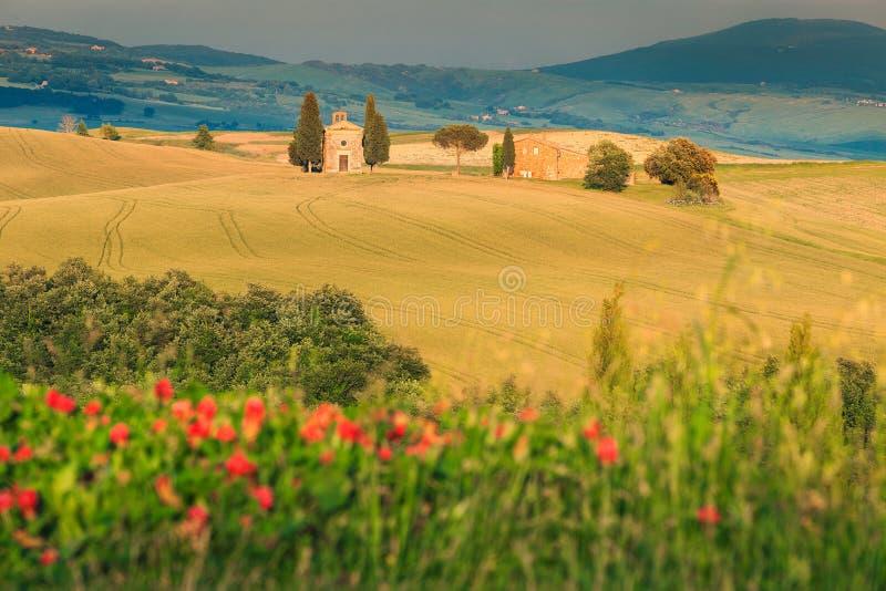Capilla majestuosa de Vitaleta cerca de Pienza, Toscana, Italia, Europa fotografía de archivo libre de regalías