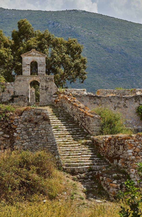 Capilla ortodoxa en la fortaleza veneciana de Agia Maura foto de archivo