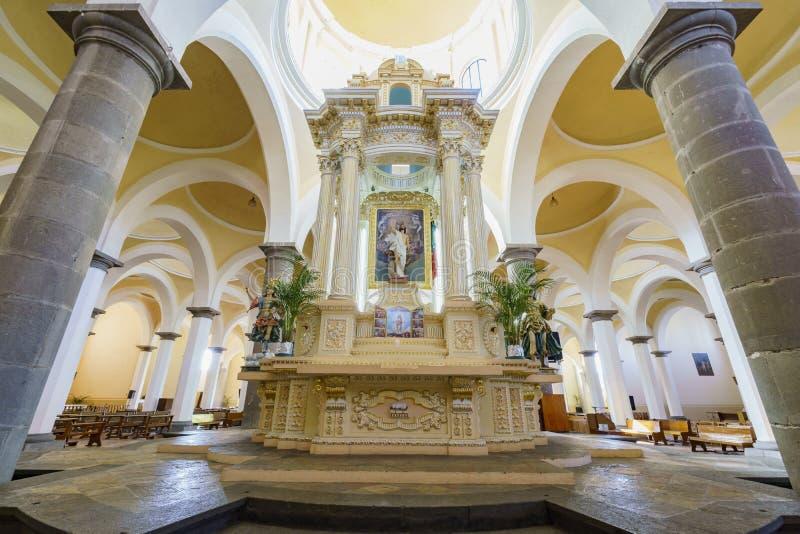 Capilla Real o de Naturales, Convento de San Gabriel. Cholula, FEB 18: Interior view of the Capilla Real o de Naturales, Convento de San Gabriel on FEB 18, 2017 stock photo