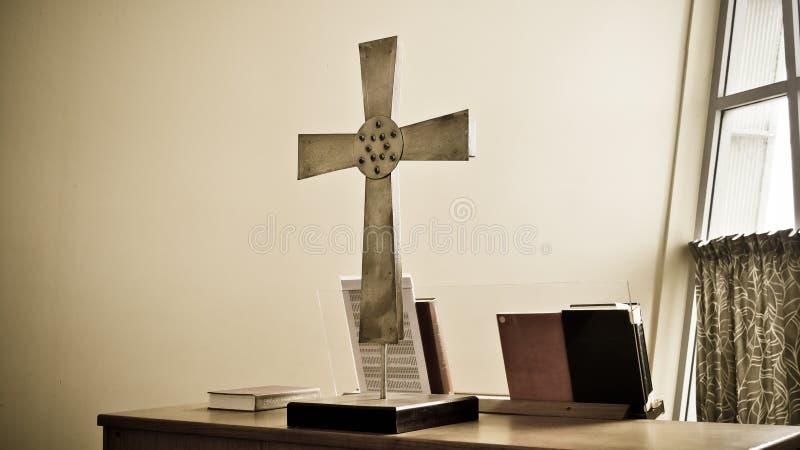 Capilla religiosa y altar cristianos o católicos para los devotos imagenes de archivo