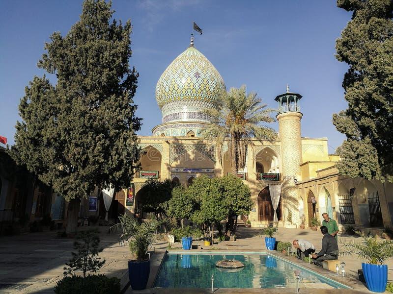 Capilla santa del Ebn-e Hamzeh de Ali Shiraz, Irán imágenes de archivo libres de regalías