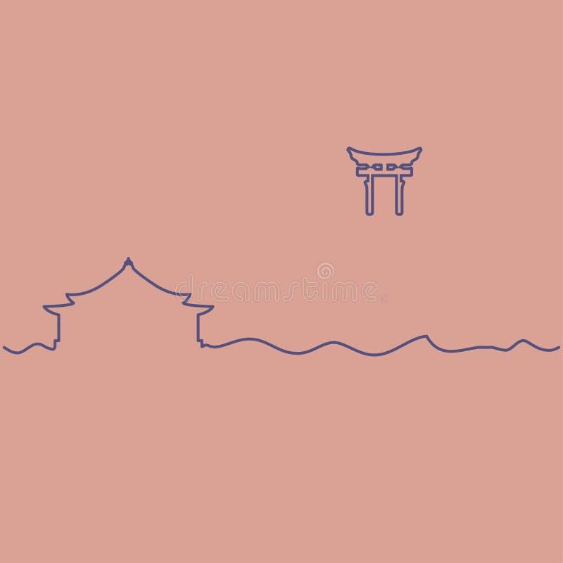Capilla sintoísta y puerta de Torii stock de ilustración