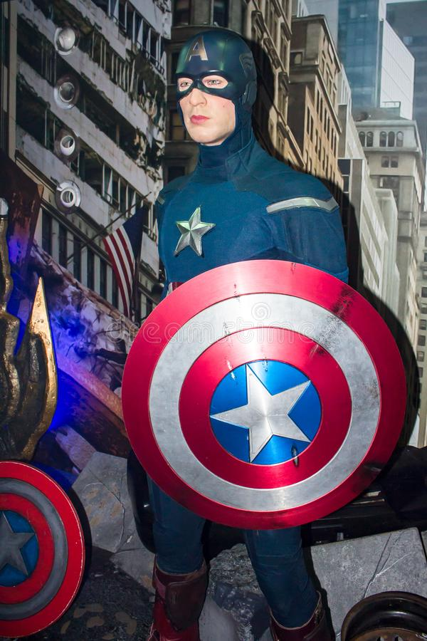 Capitán America, estatua de la cera, Amsterdam de señora Tussaud imágenes de archivo libres de regalías