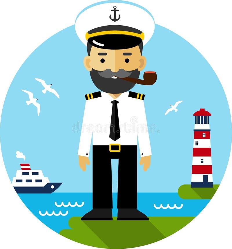 Capitán de buque en uniforme ilustración del vector
