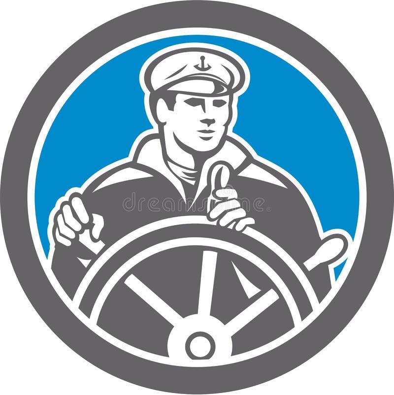 Capitán de mar del pescador Circle Retro libre illustration