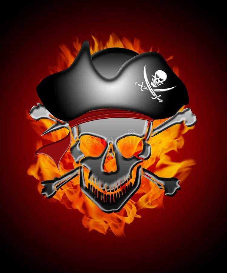 Capitán del cráneo del pirata con el fondo de las llamas ilustración del vector