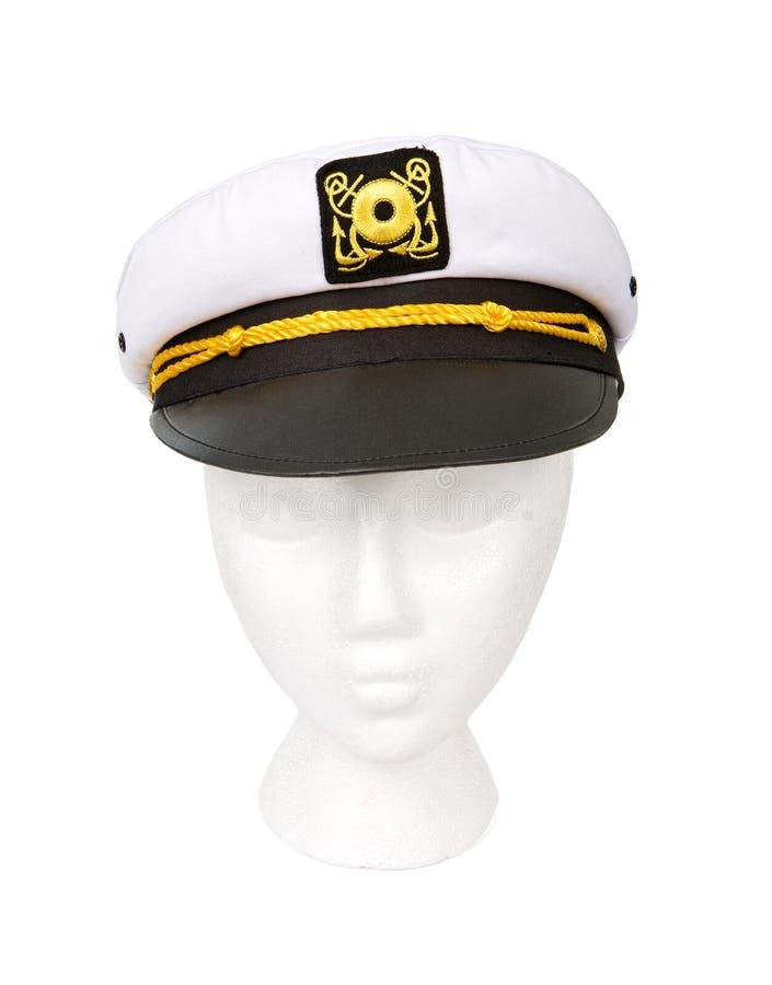 Capitán Hat Isolated del yate con un camino de recortes imagenes de archivo