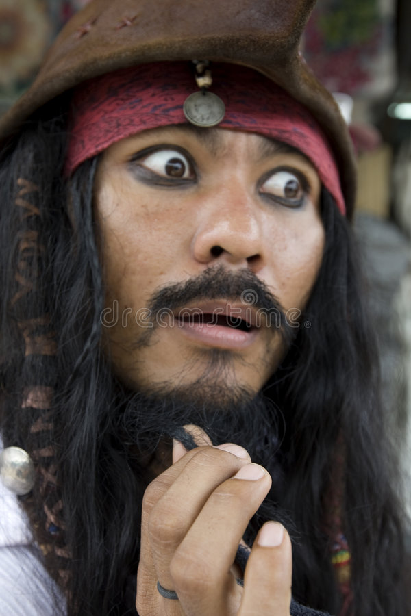Capitán Jack Sparrow, piratas del Caribe imagen de archivo