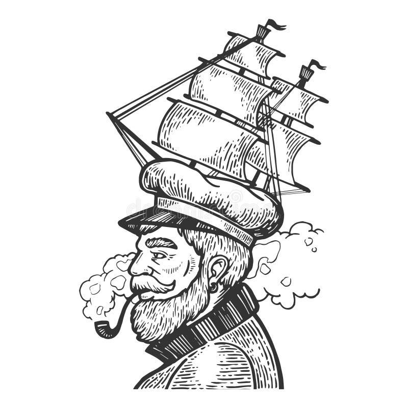 Capitão com ilustração do vetor do tampão do navio de navigação ilustração royalty free