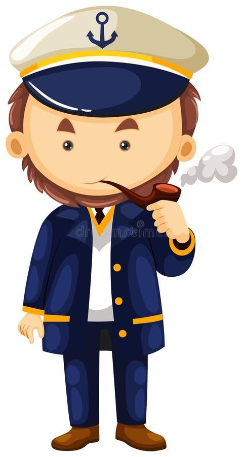 Capitão de mar com tubulação de fumo ilustração do vetor