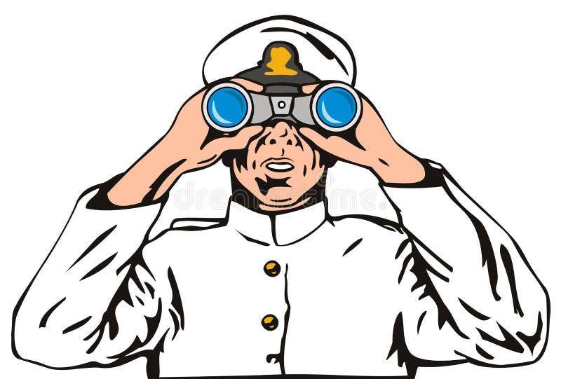 Capitão de marinha com binóculos ilustração stock