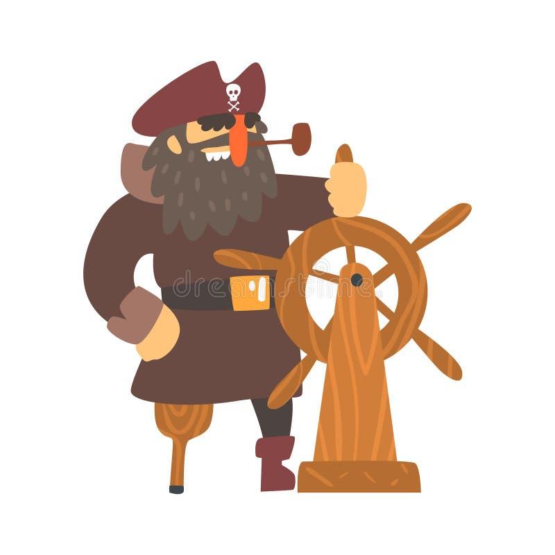 Capitão desalinhado On Wooden Leg do pirata com o remendo do olho que guarda a agitar a roda, personagem de banda desenhada da Co ilustração stock