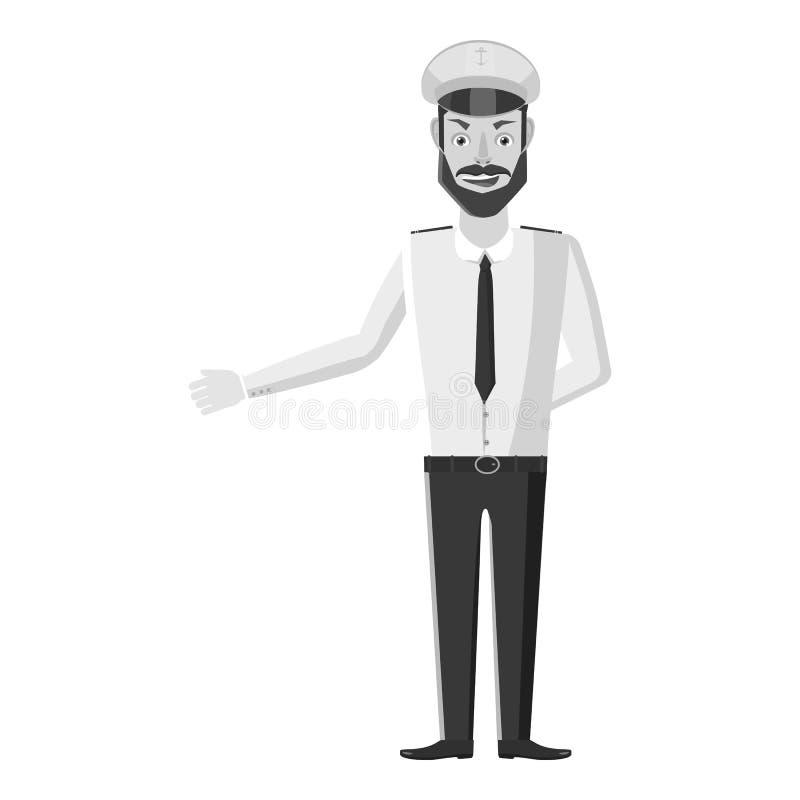 Capitão do ícone do navio, estilo monocromático cinzento ilustração royalty free