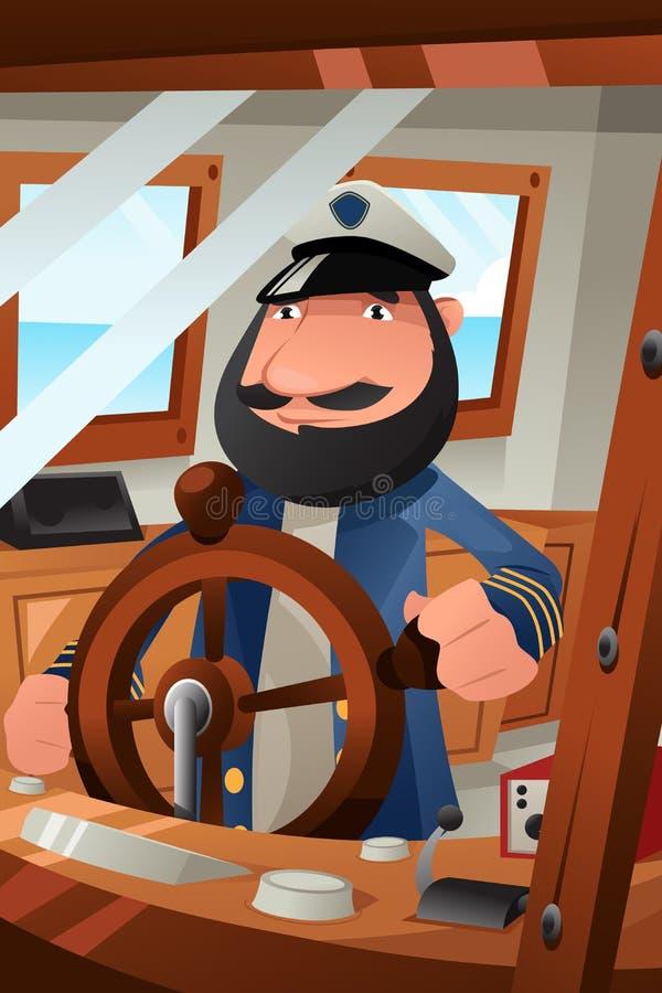 Capitão do barco no dever ilustração do vetor