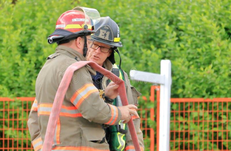 Capitão do bombeiro e membro do grupo imagens de stock royalty free