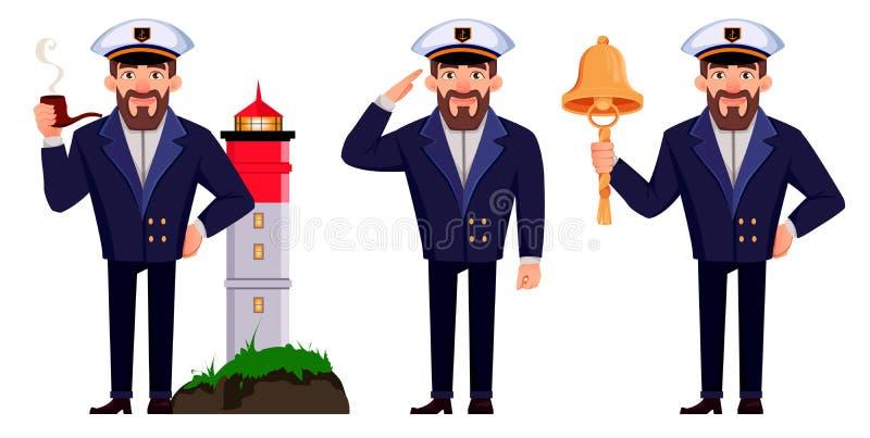 Capit?o do navio no uniforme profissional ilustração do vetor