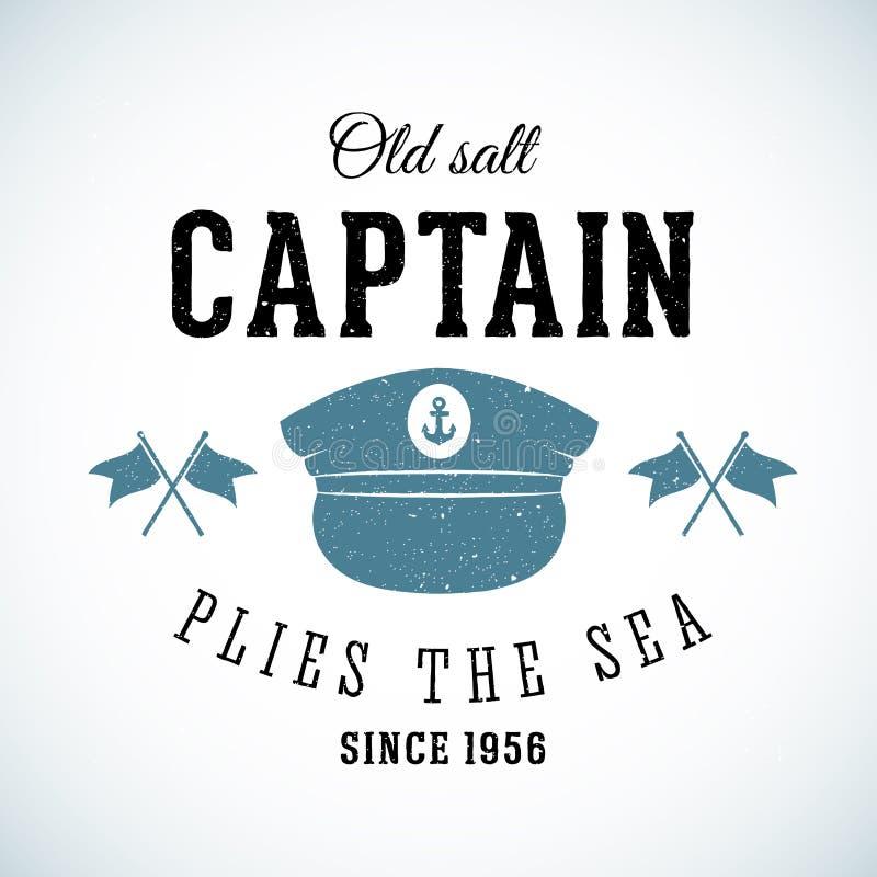 Capitão Vintage Marine Vetora Logo de sal velho ilustração stock