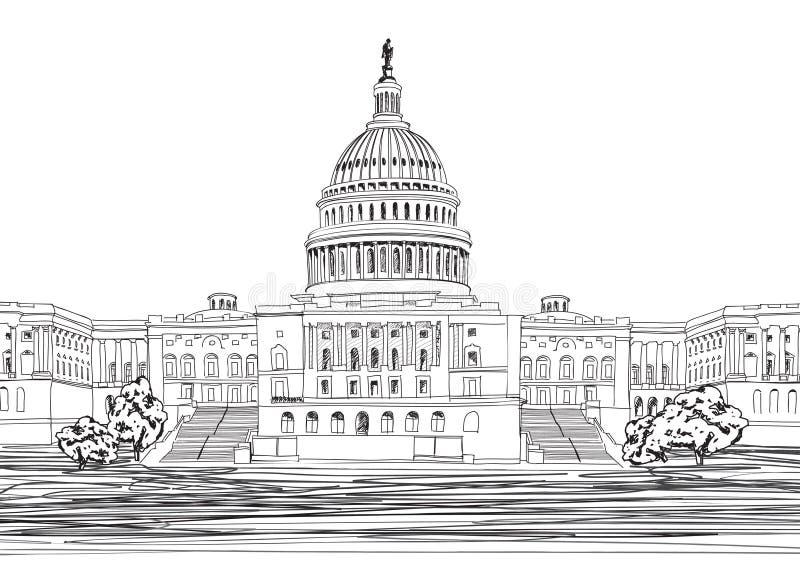 Capitólio com paisagem do jardim, EUA do Washington DC. ilustração royalty free