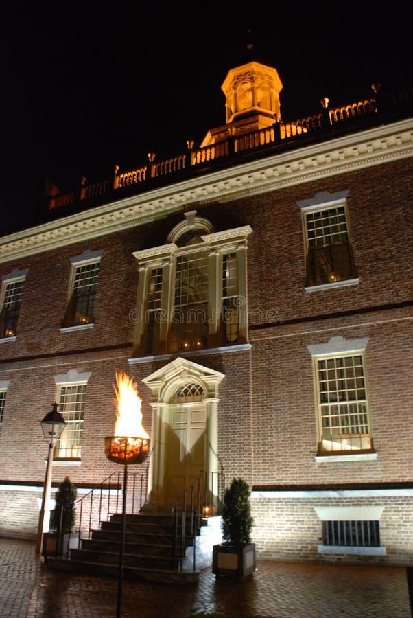 Capitólio do estado de Delaware na noite fotografia de stock royalty free