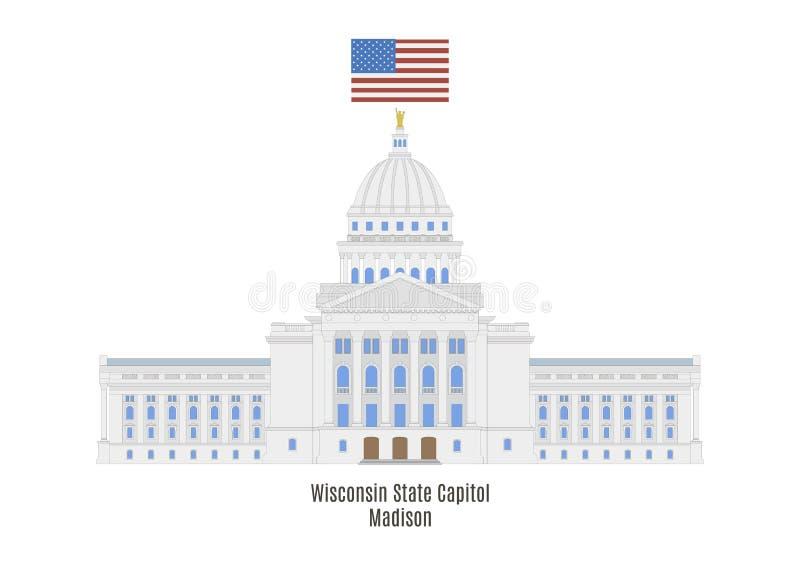 Capitólio do estado de Wisconsin, Madison ilustração royalty free